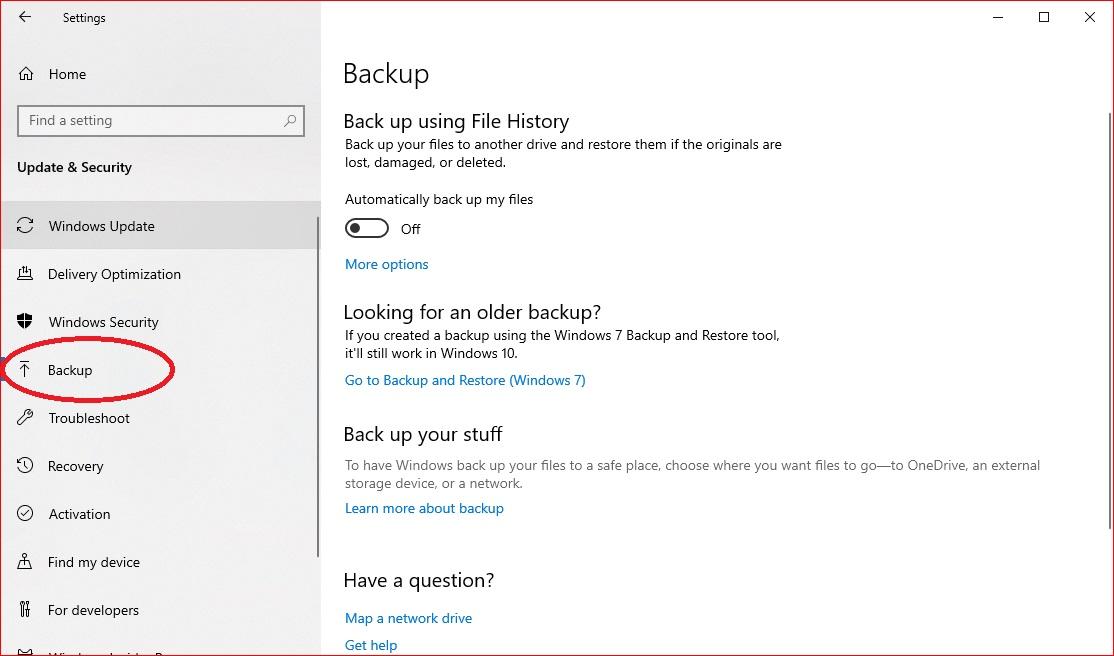 Windows 10 - Backup Settings
