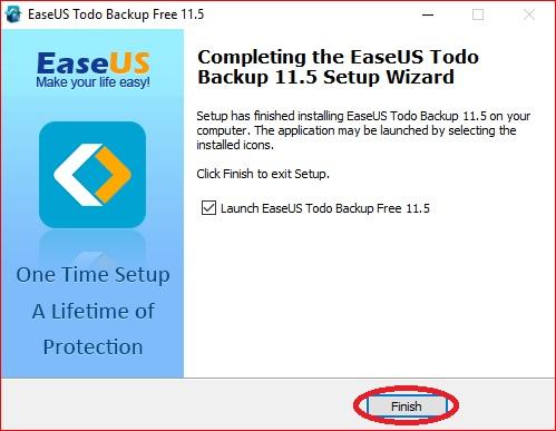 EaseUS Todo Backup - setting up