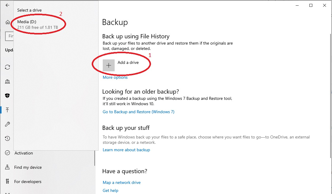 Windows 10 Backup drive selection